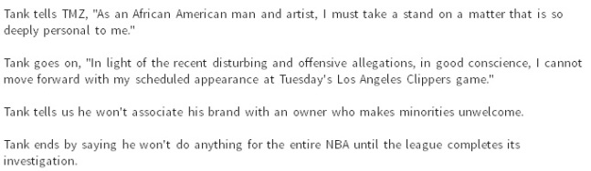 singer tank can not support the los angeles clippers after racist remarks from donald sterling