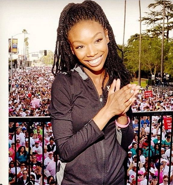 Singer Brandy Norwood participates in the Revlon Walk for Cancer on Saturday, May 10 2014
