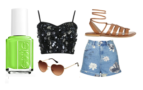 "Essie Nail Polish in ""Vices Versa"", TopShop: top, shorts, ASOS: sandals, and sunglasses"