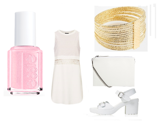 "Essie Nail Polish in ""No Baggage Please"", TopShop: dress, sandals, ASOS: bag, bangles"