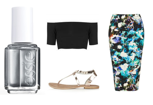 "Essie Nail Polish in ""There's No Place Like Chrome"", TopShop: top, skirt, sandals"