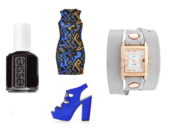 "Essie NailPolish in ""Licorice"", TopShop: Dress, Shoes ASOS: Watch"