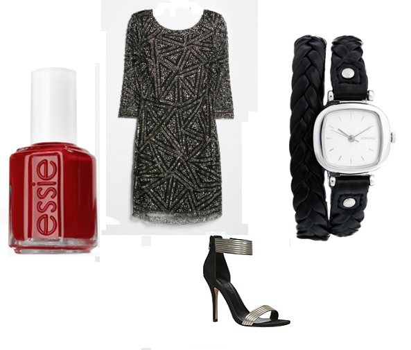 "Essie NailPolish in ""Pop Daddy"", Mango: Dress, ASOS: Watch, ALDO: Shoes"