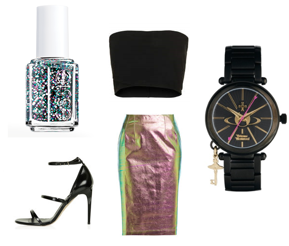 "Essie Nail Polish in ""Jazzy Jubilant"" TopShop: Bandeau, Skirt, Shoes, ASOS: Watch"