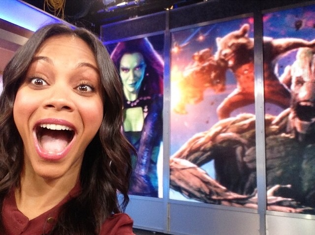 Zoe at GMA for Guardians of the Galaxy . Isn't she glowing?