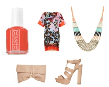 "Essie Nail Polish in ""Capri"" TopShop: Dress and Shoes ASOS: Neckalace and Clutch"