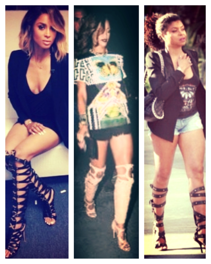 Ciara, Rihanna, and Taraji in Gladiator knee-high boots