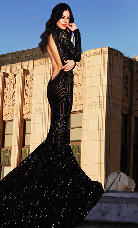Alternate design of Michael Costello's gorgeous silhouette dress. Photo via mtcostello