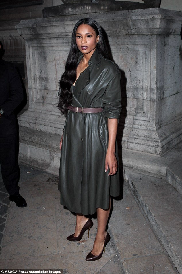 Ciara rocked an Lanvin Fall 2014 leather coat.