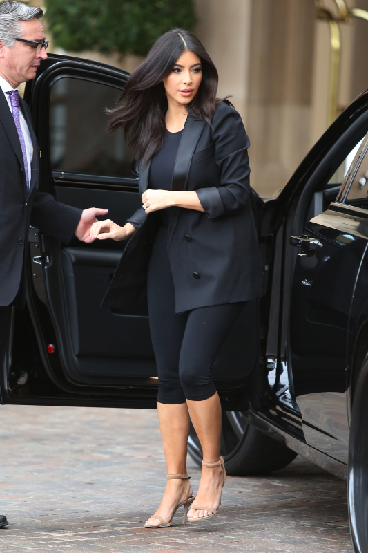 Kim Kardashian Arrives At Kourtney's Baby Shower