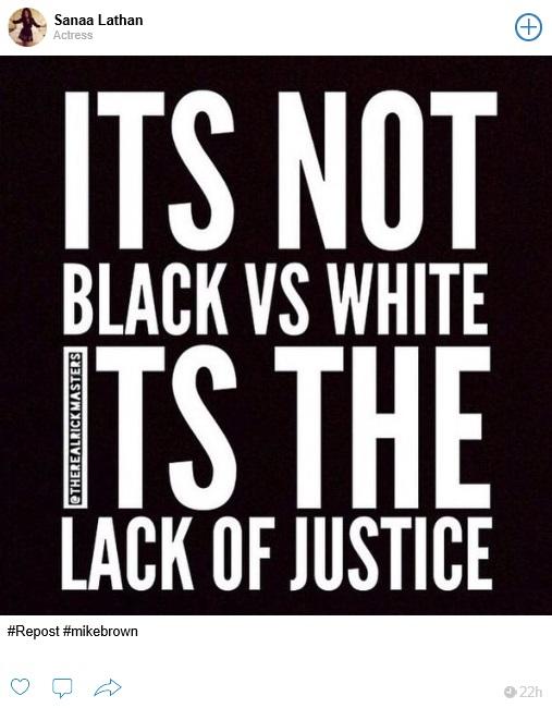 sanaa lathan supports Ferguson, MO