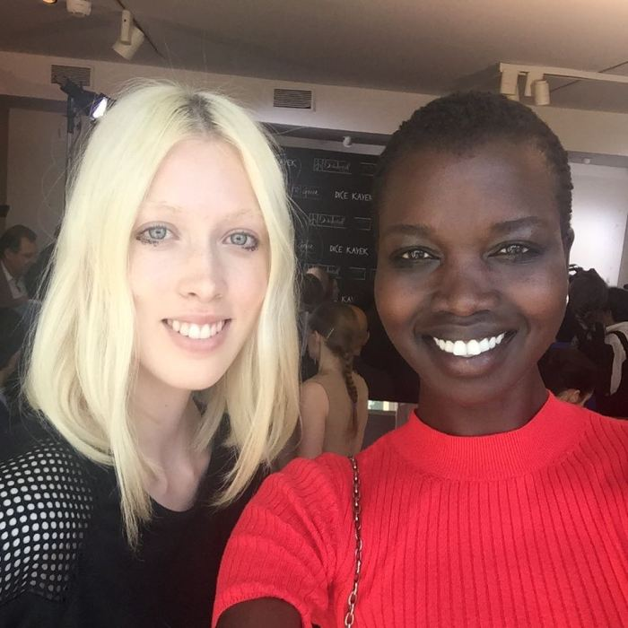 After the show selfies with Lauren, best show ever no makeup wow amazing! @lovetyg #RefugeeGirl #SouthSudan #peaceforsouthsudan #Modellife #Paris #Majormodels #NiloticQueen #NiloticGirl #Modelsforcause #BeautyandPeace #WalkingArt #BlackModelsRock #Africangirlsrock #BlackBird #Africanstakingover #junglegirl #Paris #onepeople #onetribe #OneAfrica #OneWorld #peace