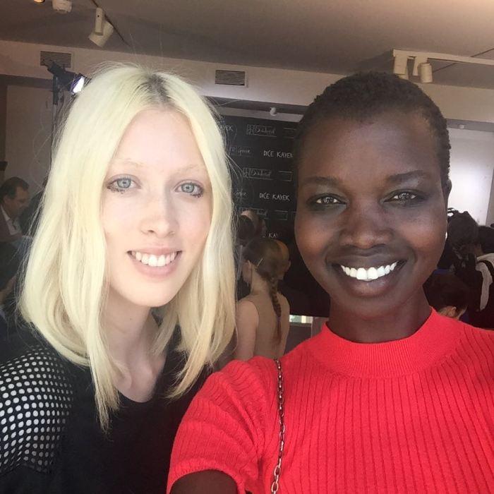 After the show selfies with Lauren, best show ever no makeup wow amazing! @lovetyg #RefugeeGirl #SouthSudan #peaceforsouthsudan #Modellife #Paris #Majormodels #NiloticQueen #NiloticGirl #Modelsforcause #BeautyandPeace #WalkingArt #BlackModelsRock #Africangirlsrock #BlackBird #Africanstakingover #junglegirl #Paris #onepeople #onetribe #OneAfrica #OneWorld #peace